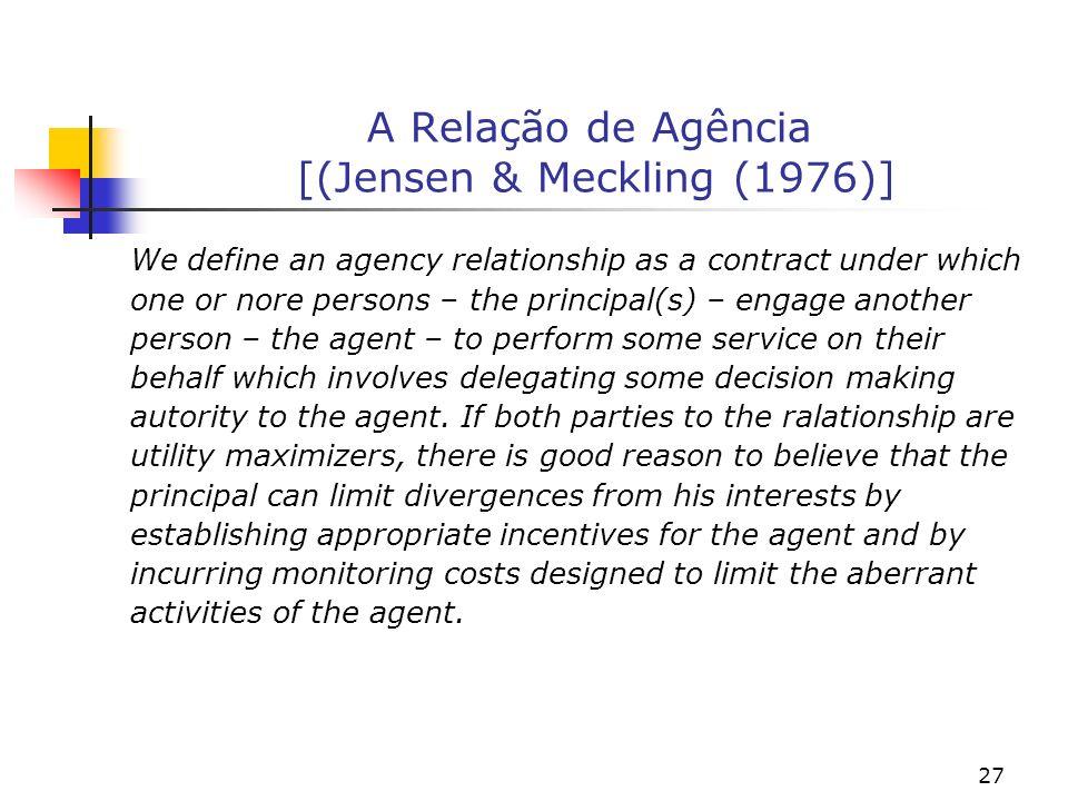 A Relação de Agência [(Jensen & Meckling (1976)]